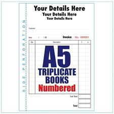 Personalised Invoice Books Pads A5 Numbered 5 books of 50 Triplicate sets