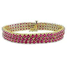 Natural Mozambique Ruby cluster Tennis Bracelet 14K Y. Gold over Sterling Silver