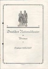 "WEIMAR, Programm 1927, Deutsches Nationaltheater Weimar ""Der Widerspenstigen Zäh"