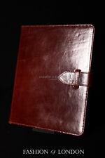 Ipad 2 3 & 4 (marrón cuero durable Genuino Esmaltado) Real cubierta caso soporte Folio