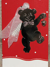 Silvertone Ornament with Bell - Teddy Bear - New