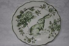 MAXCERA GREEN AND WHITE TOILE BUNNY RABBIT DINNER PLATES(s) - NEW - SET OF 4