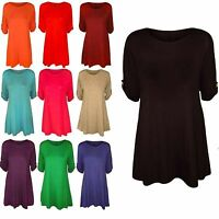 New Ladies Celeb Inspied Swing Flared Turn Up Button 3/4 Sleeve Women Dress Tops