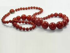 "ANTIQUE 33"" ART DECO FATURAN CHERRY RED GRADUATED BEAD NECKLACE 106.4 g * TESTED"