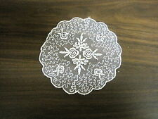 "VINTAGE EMBROIDERED ORGANZA LACE APPLIQUE MEDALLION BRIDAL 5"" round #1781"