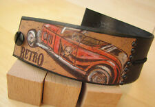 Handmade Tattoo Leather Adjustable Wrist Cuff Bracelet One of a kind Car Retro