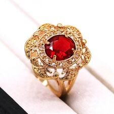 Elegant Women Lady Jewelry Ruby Red Crystal 18k Yellow Gold Plated Ring Size 8