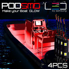 Red 4pc LED Kit For Boat Marine Deck Interior Lighting
