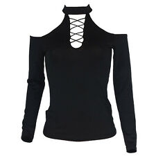 Sexy Womens Long Sleeve Cold Shoulder Casual Slim Tops T-Shirt Fashion Blouse