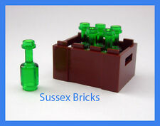 Lego - 6x Green Wine Bottles + Crate - Drink Food Utensil- City, Castle, Friends