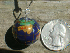 BLUE 20MM 925 STERLING SILVER GLOBE WORLD INLAY GEMSTONE PENDANT CHARM NECKLACE