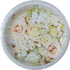 WEDDING AND BRIDAL Roses SMALL PAPER PLATES (8) ~ Party Supplies Cake Dessert