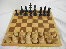 "WOOD WOODEN WEIGHTED FELTED CHESS SET WITH BOARD  3 1/4"" 3.25  KING STAUNTON"