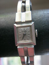 Vintage Whittnauer women's 10K gold filled silver cuff watch, wind up, Swiss