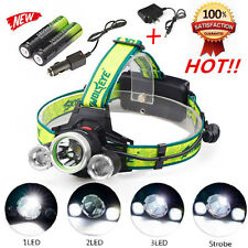 Skywolfeye 20000LM 3Mode Headlamp CREE 3xT6 LED Headlight+AC/Car charger+2*18650