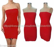 Party Club Casual Stretch Sheath Slim Fit Tube Strapless Bodycon Dress RED Small