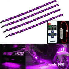 """12V Wireless Control + 4x Motorcycle 12"""" 30CM 15 LED Light Strip Purple For BMW"""