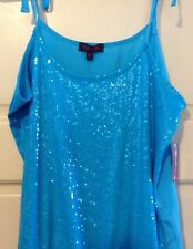 NEW Junior Large Shirt Top Blue Sequin Tank Bling FUN Tie Straps Party $55 Nice*