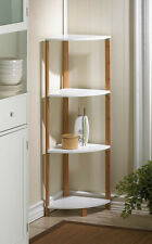 "BAMBOO SLEEK FRAME CORNER SHELF DISPLAY STAND WHITE SHELVES 41"" TALL~10016085"