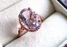 ROSE DE FRANCE PALE AMETHYST & ZIRCON 925 SILVER OVAL ROSE GOLD RING SZ N 7