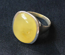 STERLING SILVER 925 RING wh NATURAL BALTIC BUTTERSCOTCH EGG YOLK AMBER STONE #10