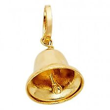 Bell Charm Pendant 10mmx10mm 14k Real Solid Gold