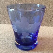 Disney Parks Blue Glass Etched Mickey Mouse Ears Head Icon 10 Oz Tumbler Cup