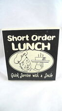 """Kitchen Dining Food Sign SHORT ORDER LUNCH Retro Chef Look 5.5"""" Square"""