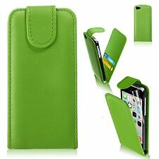 GREEN Leather Flip Case Cover with Card Slots&clip for Apple iTouch 5 UK SELLER