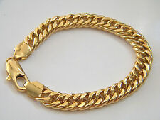 "Mens 18kt GOLD BRACELET Yellow Gold Filled Durable Links & Big Clasp 8 3/4"" NEW!"