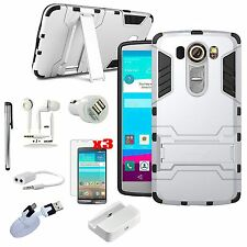11 in 1 Accessory Bundle Kit Kickstand Case Cover Dock Charger For LG V10 H901