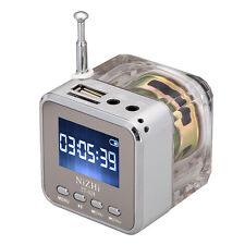 USB Mini Portable Speaker HiFi Music MP3/4 Player Micro SD TF FM Radio Silver