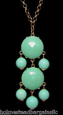 Mint Green Cabochon Bubble Statement Necklace 20 - 23 inch Goldtone Chain NEW