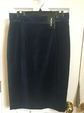 W By Worth New York Peacock Velvet High Waist Skirt $358 Sz 8 Dark Blue