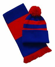 Royal Blue and Red, Scarf and Hat Set