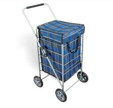 METALTEX EXPLORER 4 WHEEL WATERPROOF FABRIC FOLDING NAVY SHOPPING TROLLEY