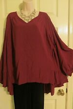 NEW Swing Ruffle Bottom Merlot Long Back BOHO Top Lane Bryant Plus 22/24 (2X/3X)