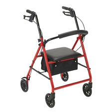 Drive Medical Rollator w/6Inch Wheels, Red R800RD Four Wheel Rollators NEW