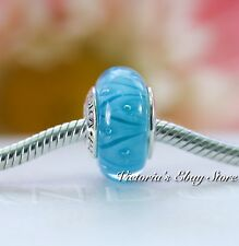 Authentic Pandora Sterling Silver Turquoise Looking Glass Murano CHarm # 790924