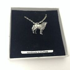 """Wolf  Emblem on Silver Platinum Plated Necklace 18"""" refe5"""