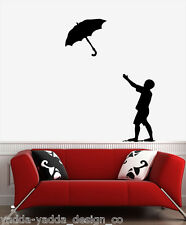 WALL - Boy & Umbrella - Vinyl Wall Decal YYDCo. (BLACK)
