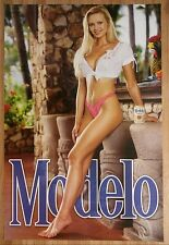 Sexy Girl Beer Poster Modelo Pink Bikini White Top Aztec Inca Statues
