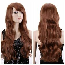 Women Long Curly Wavy Light Brown Fancy Dress Wig Ladies Cosplay Wig Full Wigs