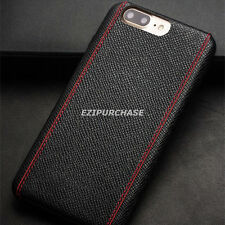 Black Cross Pattern Slim Genuine Leather Back Skin Case Cover For iPhone 7 S001