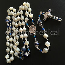 Silver Wire Wrap Bead Mother-of-Pearl & Lapis lazuli Bead Rosary necklace Cross