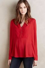 NWT Sz 10 Anthropologie De Stijl Blouse Red by Maeve M Size Medium