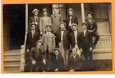 Real Photo Postcard RPPC - Thirteen Men On and Near Porch - Fraternity Brothers?
