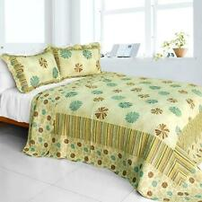 3 PC Snowflakes Fall turquoise tan beige stripes 100% Cotton Queen Quilt Shams