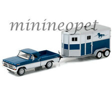 GREENLIGHT 32090 B HITCH & TOW 1972 FORD F-100 & HORSE TRAILER 1/64 BLUE / WHITE