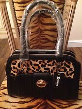 BNWT DUNE DEE BLACK & LEOPARD ANIMAL PRINT PONY SKIN BAG